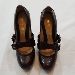 L.A.M.B Brown Leather High Heels